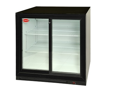 dbq220ls-dis-black-double-sliding-door-under-counter-double-door-&ndash-sliding-size-870-w-x-500-d-x-850-h-tempered-glass-lockable-temp-range-0⁰c-to-10⁰c