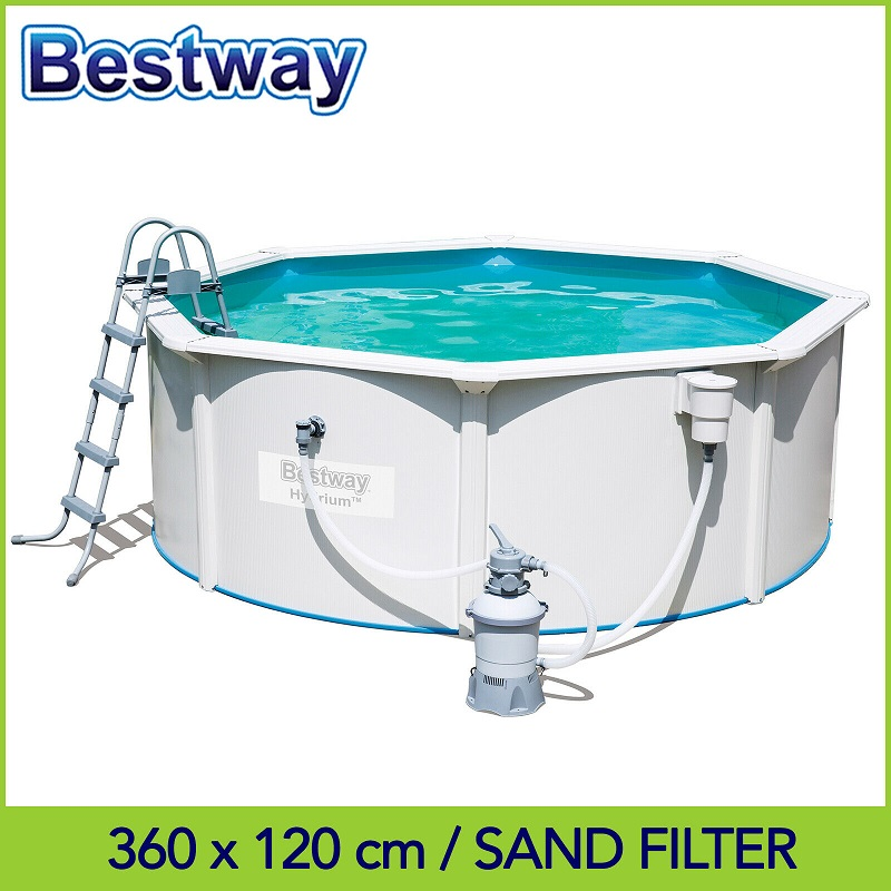 bestway-36m-x-12m-hydrium&trade-round-steel-wall-pool-with-530gal-sand-filter-pump-56574