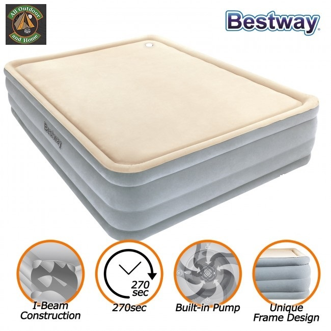 bestway-tritech-airbed-queen-foam-top-built-in-ac-pump-&ndash-new-67486