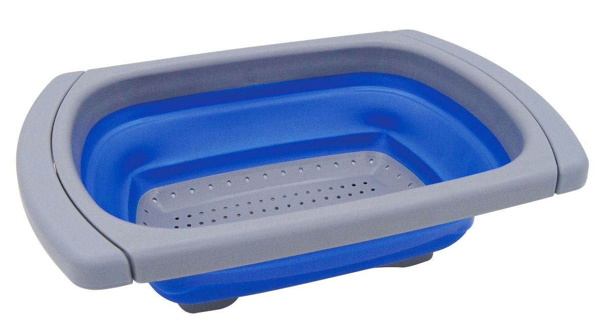 leisure-quip-foldaway-extendable-colander-blue-and-grey-birthday-special